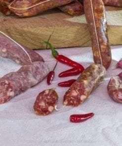 salsicce secche dolci finocchio e piccanti tagliate
